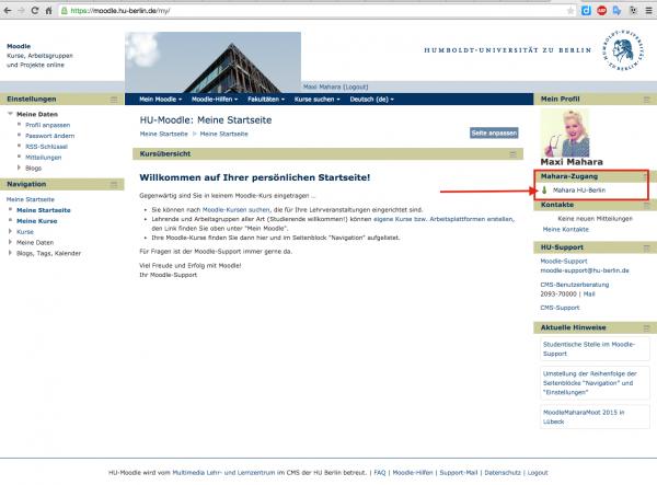 Moodle-Startseite mit Seitenblock Mahara-Zugang