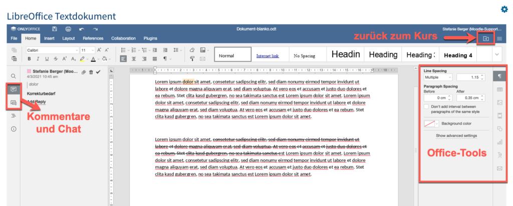 OnlyOffice Textdokument in Moodle: Oberfläche und Funktionen