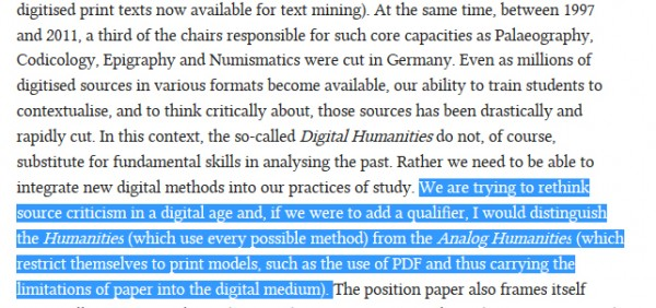 Analog Humanities