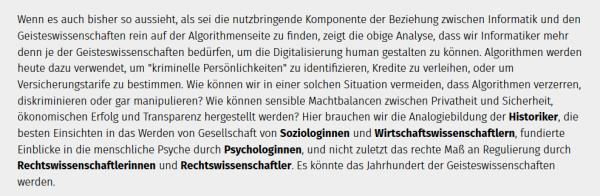 Zitat Katharina Anna Zweig zum Verhältnis von Informatik und Geisteswissenschaften