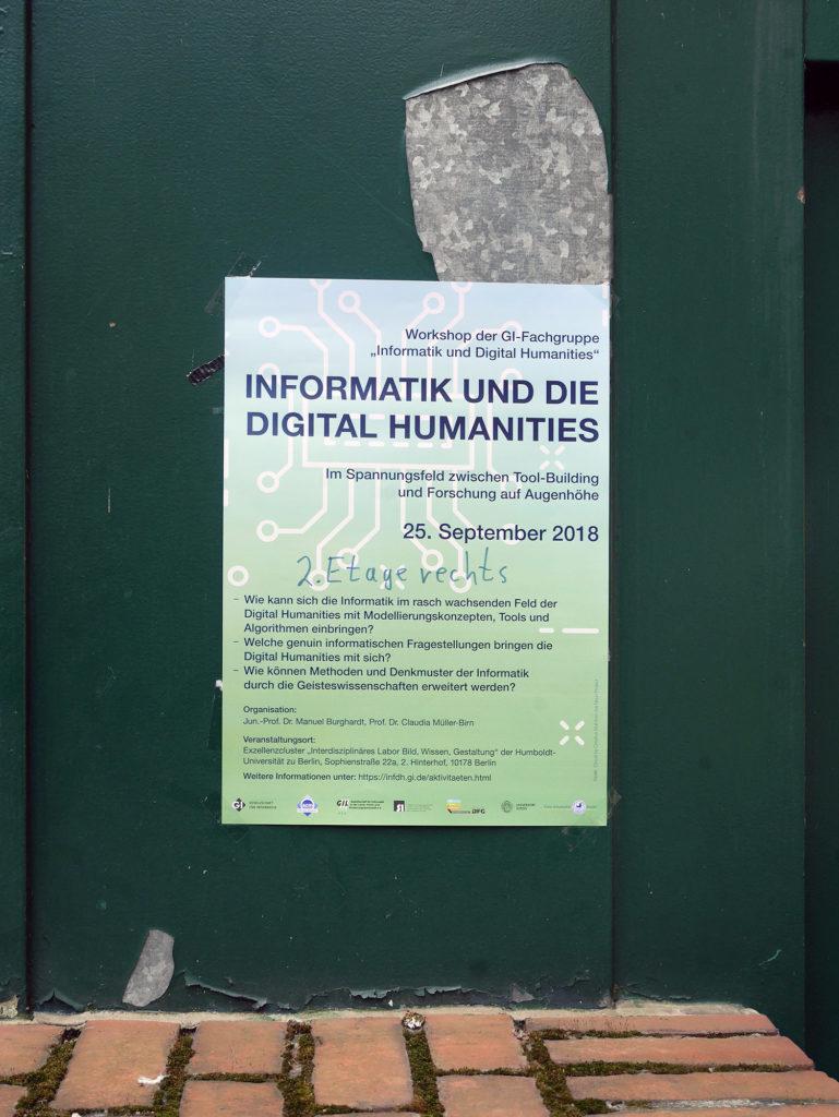 """Ankündigung zum Workshop """"Informatik und die Digital Humanities"""""""