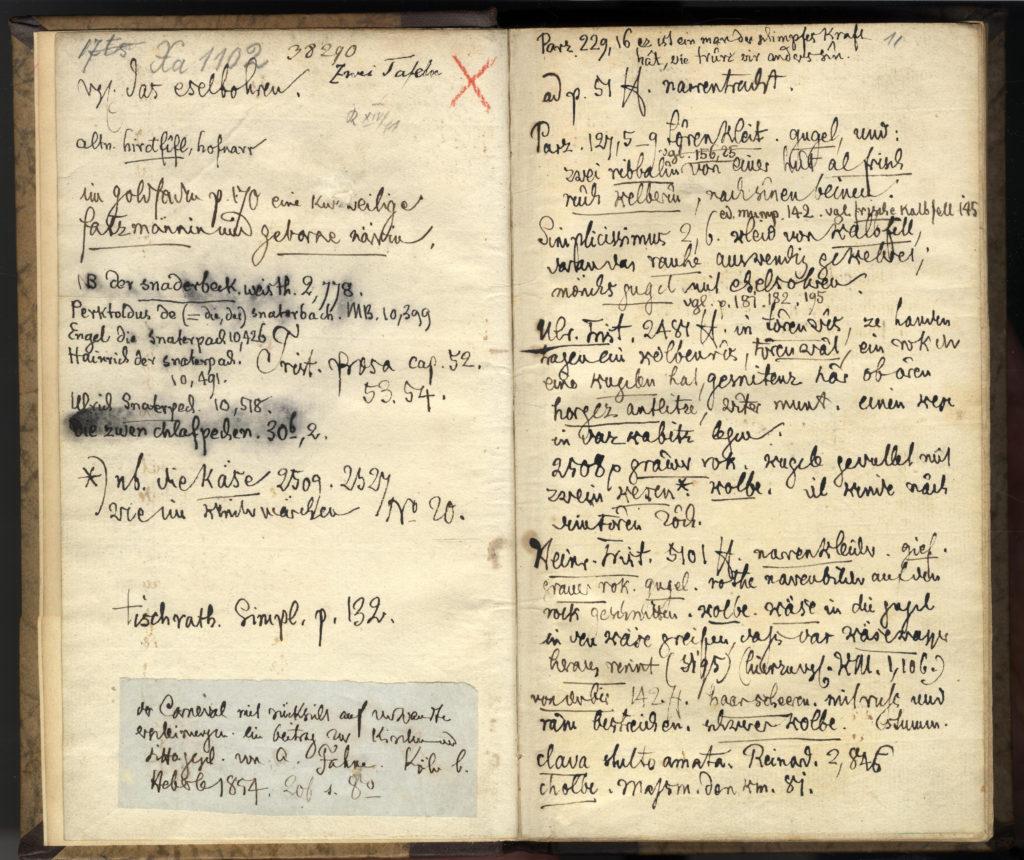"""Digitalansicht Doppelseite Notizen der Brüder Grimm in der """"Geschichte der Hofnarren"""" aus der Grimmbibliothek"""