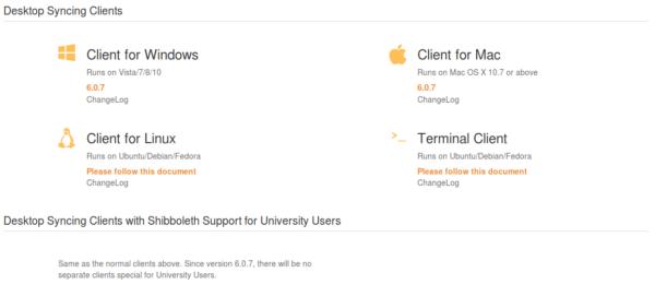 Downloadoptionen für Seafile Clients