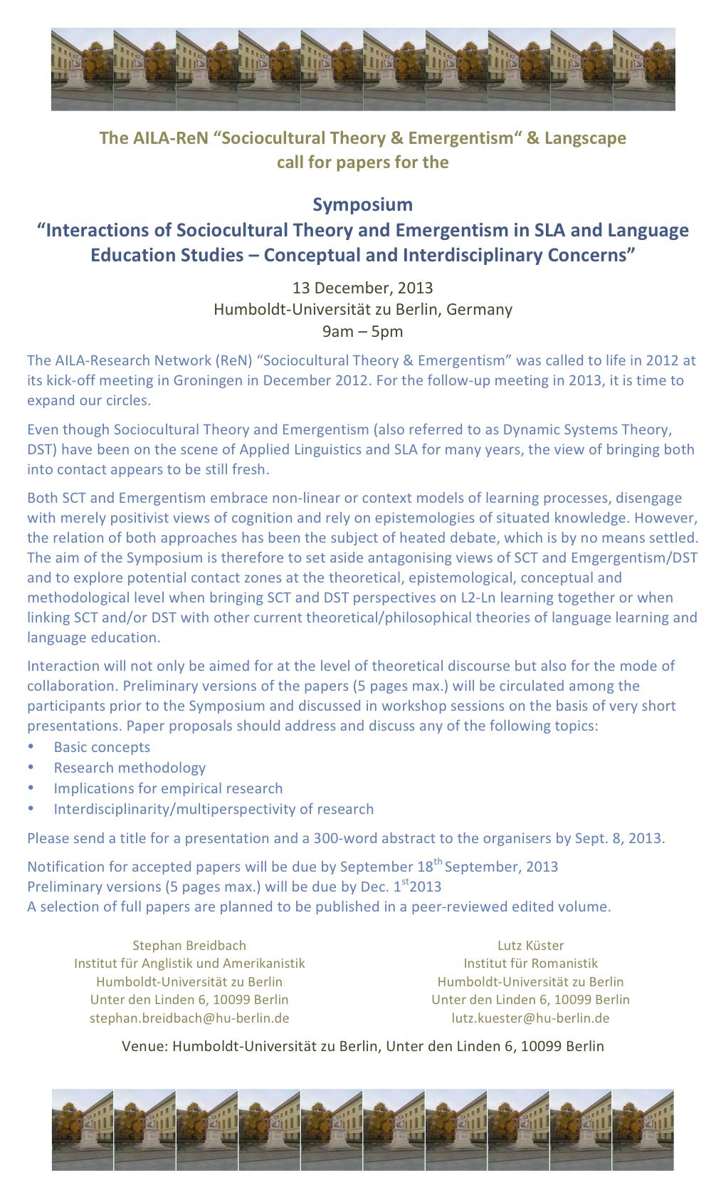 CfP - Symposium 2013