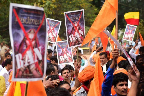 Members of Rashtriya Rajput Karni Sena during a protest demanding for a total ban on Sanjay Leela Bhansali's movie <em>Padmavati</em> at Freedom Park in Bengaluru.