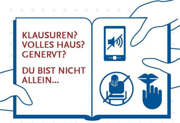 """Plakatausschnitt zum Thema """"Miteinander in der Bib"""". Design: Catharina Sonnenberg"""