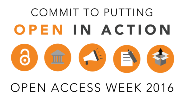 "Motto der Open Access Week 2016 ""Open in Action"""