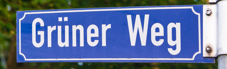"""Blaues Straßenschild """"Grüner Weg"""""""