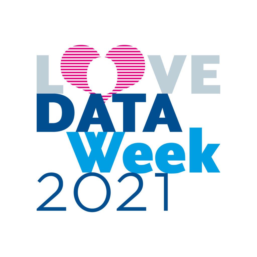 Das Logo der Veranstaltungsreihe Love Data Week 2021 an der HU. Die Wörter sind in verschiedenen Blautönen untereinandergesetzt, das O ist durch ein stilisiertes Herz in Magenta ersetzt.
